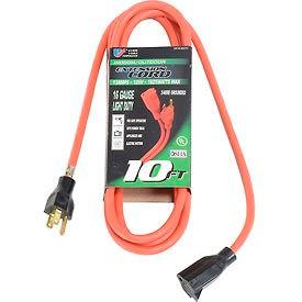 U.S. Wire 60010 10 Ft. Three Conductor Extension Orange Cord, 16/3 Ga. SJTW-A, 300V, 13A
