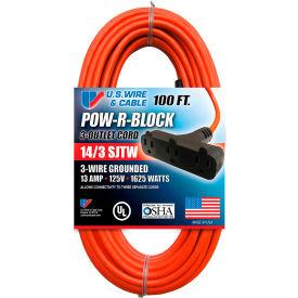 U.S. Wire 62100 100 Ft. Three Conductor Orange Cord W/Pow-R Block, 14/3 Ga. SJTW-A, 300V, 13A
