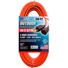 U.S. Wire 63050 50 Ft. Three Conductor Orange Extension Cord, 14/3 Ga. SJTW-A, 300V, 15A