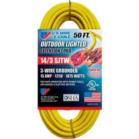 U.S. Wire 73050 50 Ft. Three Conductor Yellow Temp-Flex Lighted Plug Cord, 14/3 Ga., 300V, 15A