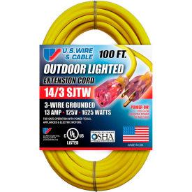 U.S. Wire 73100 100 Ft. Three Conductor Yellow Temp-Flex Lighted Plug Cord, 14/3 Ga., 300V, 13A