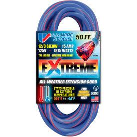 U.S. Wire 99050 50 Ft. Three Conductor Artic/Tropic Cord, 12/3 Ga. SJEOW-A, 15A, Blue w/Red Stripe