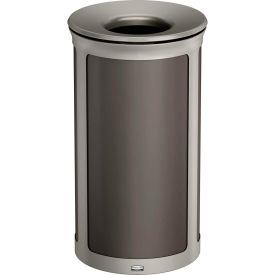 Rubbermaid Enhance™ Round Decorative Waste Container, 33 Gallon, Umbra Grey - 1970178