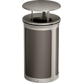 Rubbermaid Enhance™ Round Decorative Waste Container W/ Rainhood, 15 Gal. Umbra Grey - 1970209
