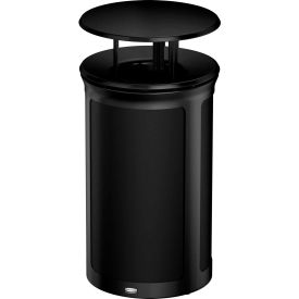 Rubbermaid Enhance™ Round Decorative Waste Container W/ Rainhood, 15 Gal., Jet Black - 1970226