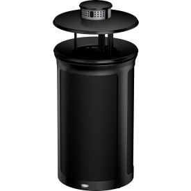 Rubbermaid Enhance™ Round Ash & Trash Container W/ Rainhood, 15 Gal., Jet Black  - 1970227