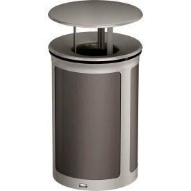 Rubbermaid Enhance™ Round Decorative Waste Container W/ Rainhood, 23 Gal. Umbra Grey - 1970242