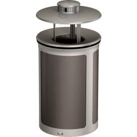 Rubbermaid Enhance™ Round Ash & Trash Container W/ Rainhood, 23 Gal., Umbra Grey  - 1970243