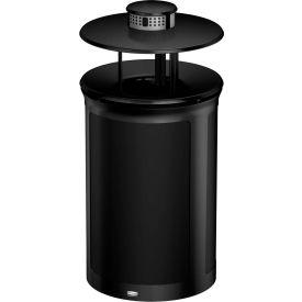 Rubbermaid Enhance™ Round Ash & Trash Container W/ Rainhood, 23 Gal., Jet Black  - 1970261