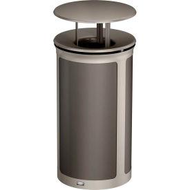 Rubbermaid Enhance™ Round Decorative Waste Container W/ Rainhood, 33 Gal. Umbra Grey - 1970266
