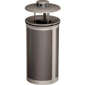 Rubbermaid Enhance™ Round Ash & Trash Container W/ Rainhood, 33 Gal., Umbra Grey  - 1970267