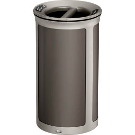 Rubbermaid Enhance™ Round Decorative Recycling Container, 33 Gallon, Umbra Grey - 1970268