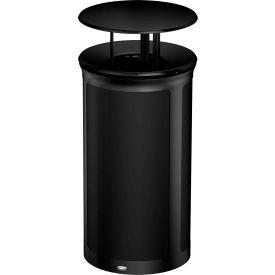 Rubbermaid Enhance™ Round Decorative Waste Container W/ Rainhood, 33 Gal., Jet Black - 1970294