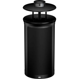 Rubbermaid Enhance™ Round Ash & Trash Container W/ Rainhood, 33 Gal., Jet Black  - 1970295