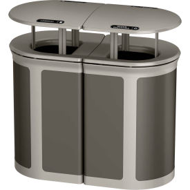 Rubbermaid Enhance™ Decorative Recycling Container W/ Rainhood, 46 Gal., Umbra Grey - 1970300