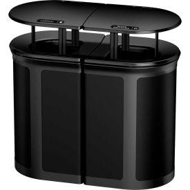Rubbermaid Enhance™ Decorative Recycling Container W/ Rainhood, 46 Gal., Jet Black - 1970309