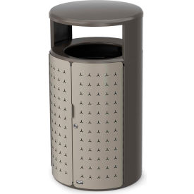 Rubbermaid Resist™ Shield Round Decorative Waste Container, 23 Gal. Pearl Mouse Grey - 2006776