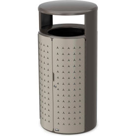 Rubbermaid Resist™ Shield Round Decorative Waste Container, 33 Gal. Pearl Mouse Grey - 2006778