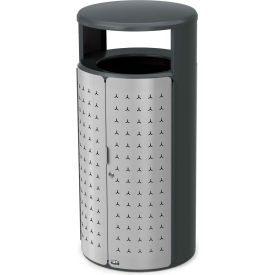 Rubbermaid Resist™ Shield Round Decorative Waste Container, 33 Gal., Stardust Silver - 2006779