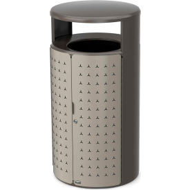 Rubbermaid Resist™ Shield Round Decorative Waste Container, 45 Gal. Pearl Mouse Grey - 2006780