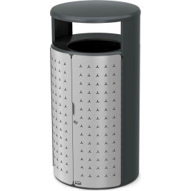 Rubbermaid Resist™ Shield Round Decorative Waste Container, 45 Gal., Stardust Silver - 2006841