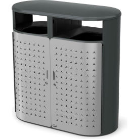Rubbermaid Resist™ Shield Pill Decorative Waste Container, 66 Gal., Stardust Silver - 2006843