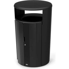 Rubbermaid Resist™ Fan Round Decorative Waste Container, 23 Gallon, Black Gloss - 2006846