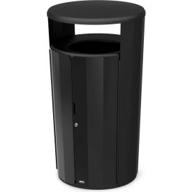 Rubbermaid Resist™ Fan Round Decorative Waste Container, 33 Gallon, Black Gloss - 2006848