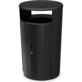 Rubbermaid Resist™ Fan Round Decorative Waste Container, 45 Gallon, Black Gloss - 2006850