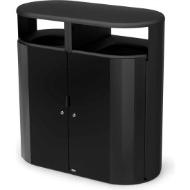 Rubbermaid Resist™ Fan Pill Decorative Waste Container, 66 Gallon, Black Gloss - 2006852