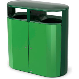 Rubbermaid Resist™ Fan Pill Decorative Waste Container, 66 Gallon, May Green Gloss - 2006853