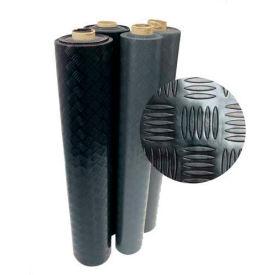 """Rubber-Cal """"Diamond-Grip"""" Rubber Runner Mats, 2mm THK x 4' x 4'L, Black"""