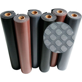 """Rubber-Cal """"Block-Grip"""" Rubber Runner Mat, 2mm THK x 4'W x 30'L, Brown"""
