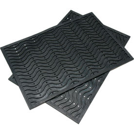 "Rubber-Cal ""Dura-Scraper Wave"" Commercial Entrance Mat, 3/8""THK x 24""W x 36""L, Black"