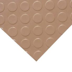 """Rubber-Cal """"Coin-Grip (Metallic)"""" PVC Flooring, Beige, 2.5mm THK x 4'W x 25'L"""
