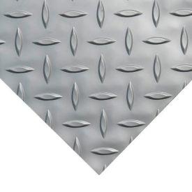 "Rubber-Cal ""Diamond-Plate (Metallic)"" PVC Flooring, Silver, 2.5mm THK x 4'W x 25'L"