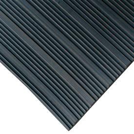 """Rubber-Cal """"Composite Rib"""" Corrugated Rubber Runners, 1/8""""THK x 3'W x 15'L, Black"""