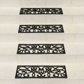"Rubber-Cal ""New Amsterdam"" Non-Slip Treads, 9.75""W x 29.75""L, Stair Tread Mats, Black - Pkg Qty 6"