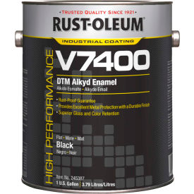 Rust-Oleum V7400 Series <340 VOC DTM Alkyd Enamel, Flat Black Gallon Can - 245387 - Pkg Qty 2