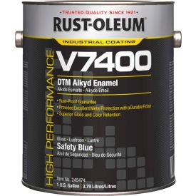 Rust-Oleum V7400 Series <340 VOC DTM Alkyd Enamel, Safety Blue Gallon Can - 245474 - Pkg Qty 2