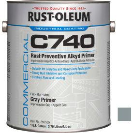 Rust-Oleum Comm C740 <400 VOC DTM Alkyd Enamel Rust-Prev MaintPaint, Flat GY Primer Gal Can - 255555 - Pkg Qty 2