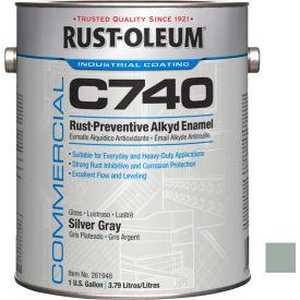 Rust-Oleum Comm. C740 <400 VOC DTM Alkyd Enamel Rust-Prev. Maint Paint, Silver Gray Gal Can - 261948 - Pkg Qty 2