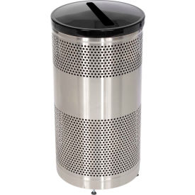 """Paper Recycling Container, Stainless Steel, 25 gal., 18""""Dia x 35.5""""H"""