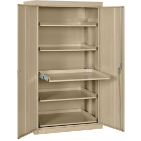 "Pull-Out Tray Shelf Storage Cabinet, 36""W x 24""D x 66""H, Tropic Sand"