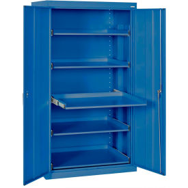 "Pull-Out Tray Shelf Storage Cabinet, 36""W x 24""D x 66""H, Blue"