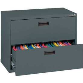 """Lateral File, 2-Drawer, 30W"""" x 18D"""" x 26-5/8H"""", Charcoal"""