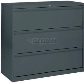 """Lateral File, 3-Drawer, 42W"""" x 19-1/4D"""" x 40-7/8H"""", Charcoal"""