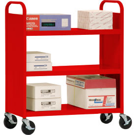Sandusky® SF336 Double-Sided Flat 3 Shelf Steel Cart 37x18 - Red