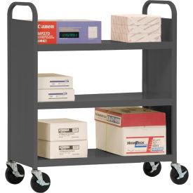 Sandusky® SF336 Double-Sided Flat 3 Shelf Steel Cart 37x18 - Charcoal