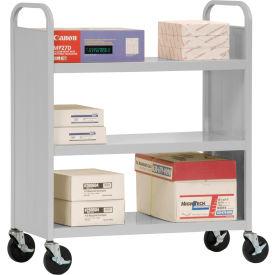 Sandusky® SF336 Double-Sided Flat 3 Shelf Steel Cart 37x18 - Dove Gray